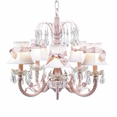 5-Arm Water Fall Pink Chandelier with White with Pink Sash Shades
