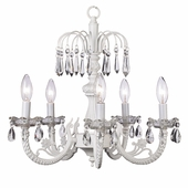 5-Arm Water Fall White Chandelier