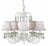 5-Arm Water Fall White Chandelier with White/Pink Petal Flower Shades