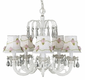 5-Arm Water Fall White Chandelier with White with Pink Net Flower Shades