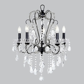 5-Arm Whimsical Beaded Black Chandelier