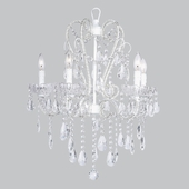 5-Arm Whimsical Beaded White Chandelier