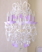 5-Light Antique White Beaded Chandelier with Opal Lavender Crystals