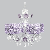 5-Light Flower Garden Chandelier with Lavender Rose Garden Drum Shades
