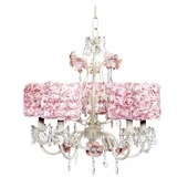 5-Light Flower Garden Chandelier with Pink Rose Garden Drum Shades