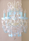 5-Light Ivory Beaded Chandelier with Opal Aqua Blue Crystals
