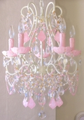 5-Light Ivory Beaded Chandelier with Opal Pink Crystals