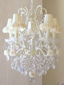 5-Light Ivory Chandelier with Cream Rose Shades