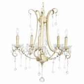 5-Light Ivory Colleen Chandelier with Glass Center and Crystals