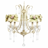 5-Light Ivory Colleen Chandelier with Ivory/Sage Shades & Rose Magnet