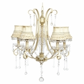 5-Light Ivory Colleen Chandelier with Ivory Skirt Dangle Shades
