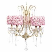 5-Light Ivory Colleen Chandelier with Pink Rose Garden Drum Shades
