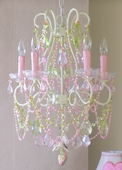5-Light Ivory Diva Chandelier with Pink/Green Crystals