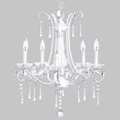 5-Light White Colleen Chandelier with Glass Center and Crystals