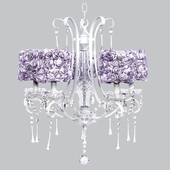 5-Light White Colleen Chandelier with Lavender Rose Garden Drum Shades