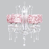5-Light White Colleen Chandelier with Pink Rose Garden Drum Shades