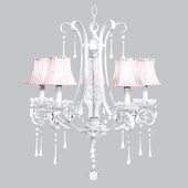 5-Light White Colleen Chandelier with Pink & White Stripe Shades