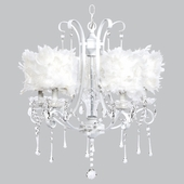 5-Light White Colleen Chandelier with White Feather Drum Shades