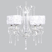 5-Light White Colleen Chandelier with White Rose Garden Drum Shades
