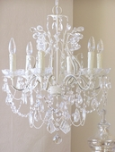 6-Light Antique White Crystal Chandelier