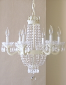 6-Light Antique White Vintage Glam Ornate Crystal Empire Chandelier
