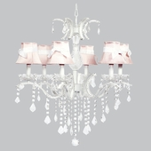 6-Light Glitz Chandelier with Pink/White Shades