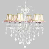 6-Light Glitz Chandelier with Pink/White Stripe Ruffled Shades & Sage Trim