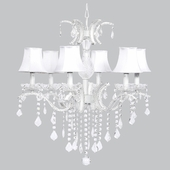 6 Light Glitz Chandelier with White Chandelier Shades