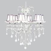 6-Light Glitz Chandelier with White Ruffled Shades and Lavender Trim