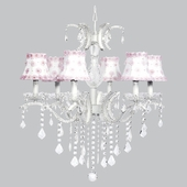 6-Light Glitz Chandelier with White Shades and Pink Petal Flowers