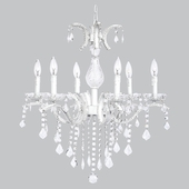 6-Light White Beaded Glitz Chandelier with Glass Center