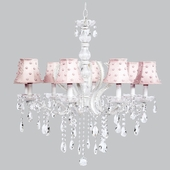 8-Light Pageant Chandelier with Pink Pearl Dot Shades
