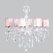 8-Light Pageant Chandelier with Pink Scalloped Drum Shades
