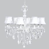 8-Light Pageant Chandelier with White Petal Flower Shades
