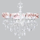 8-Light Pageant Chandelier with White Shades and Pink Sashes