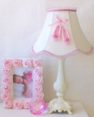 Adorable Pink Ballerina Shoes Ivory Table Lamp