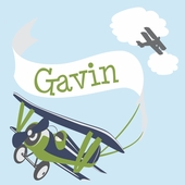 Adventure Plane Green Personalized Canvas Wall Art