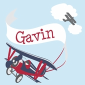 Adventure Plane Red Personalized Canvas Wall Art