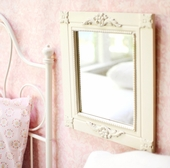 Antique White Carved Wall Mirror