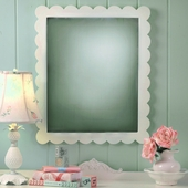 Antique White Scalloped Wall Mirror