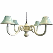 Aqua Pagoda Four Arm Scroll Chandelier