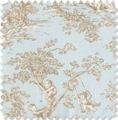 Baby Toile Blue & Brown Fabric