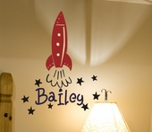 Bailey's Rocket Custom Personalized Wall Decal