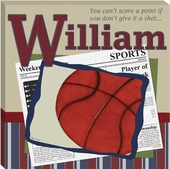 Basketball in the News Gallery Wrapped Stretched Giclee Canvas