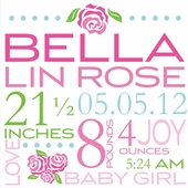 Bella Rose Birth Announcement Canvas Wall Art