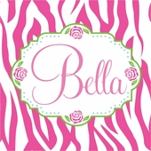 Bella Rose Zebra Personalized Canvas Wall Art