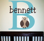 Bennett's Owl Custom Personalized Wall Decal