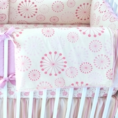 Berry Marceline Puff Blanket with Pink Trim