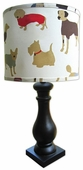 Best Friend Red Shade with Black Column Lamp