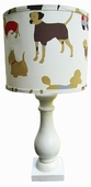 Best Friend Red Shade with Eggshell Column Lamp